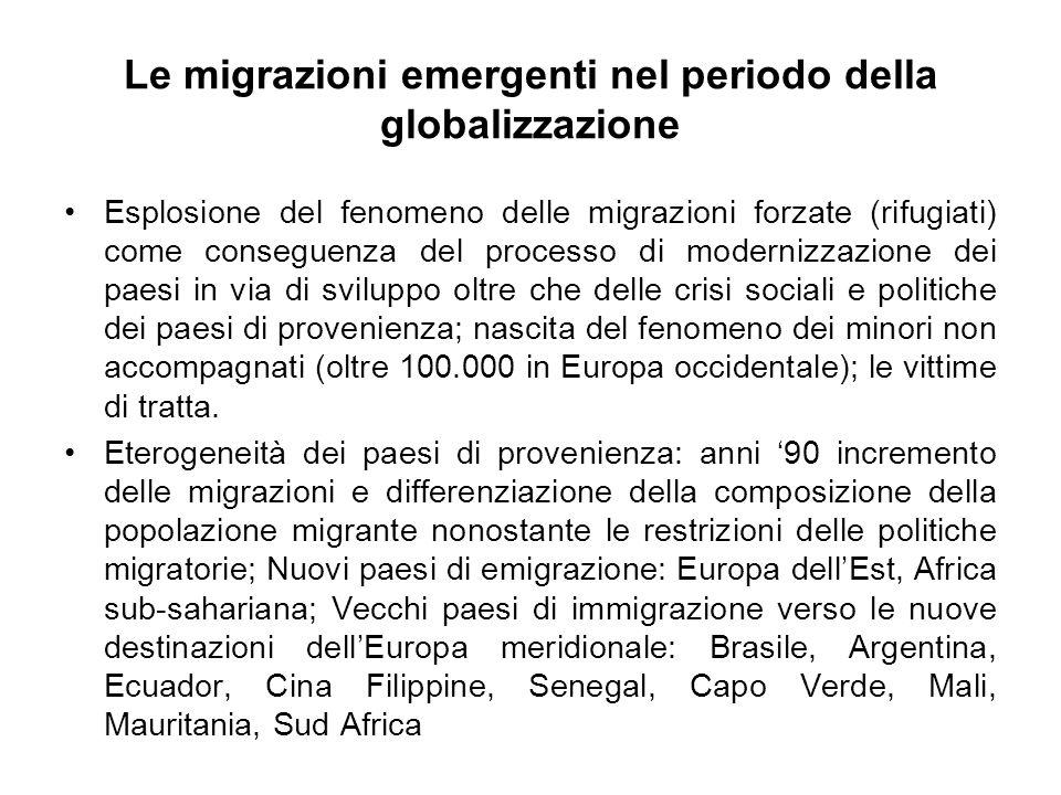 Le migrazioni emergenti nel periodo della globalizzazione Esplosione del fenomeno delle migrazioni forzate (rifugiati) come conseguenza del processo d