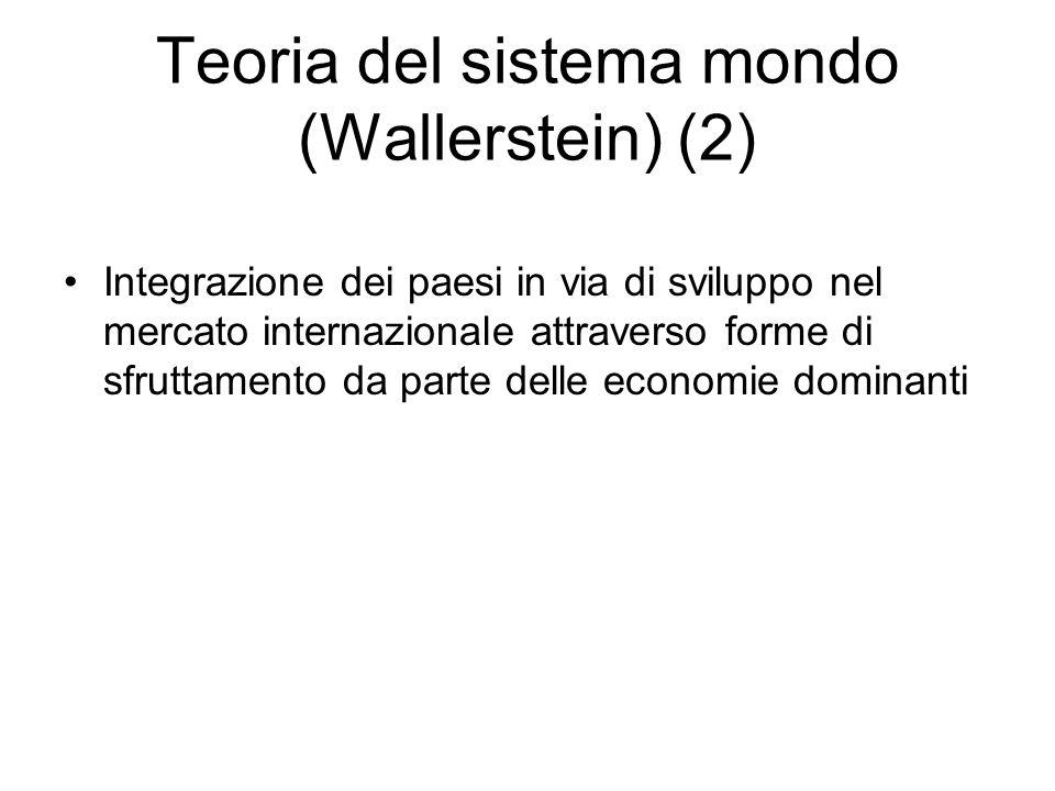 Teoria del sistema mondo (Wallerstein) (2) Integrazione dei paesi in via di sviluppo nel mercato internazionale attraverso forme di sfruttamento da pa