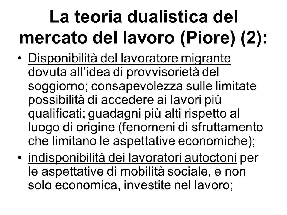La teoria dualistica del mercato del lavoro (Piore) (2): Disponibilità del lavoratore migrante dovuta allidea di provvisorietà del soggiorno; consapev