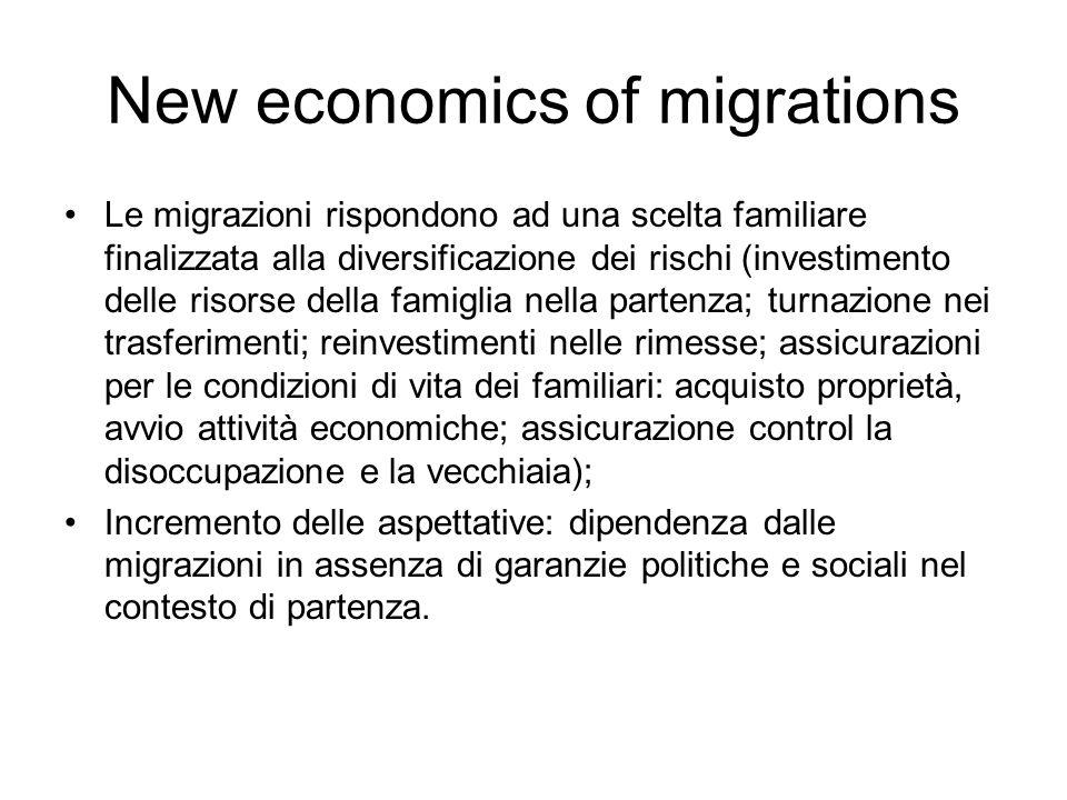 New economics of migrations Le migrazioni rispondono ad una scelta familiare finalizzata alla diversificazione dei rischi (investimento delle risorse