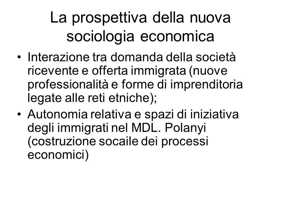 La prospettiva della nuova sociologia economica Interazione tra domanda della società ricevente e offerta immigrata (nuove professionalità e forme di
