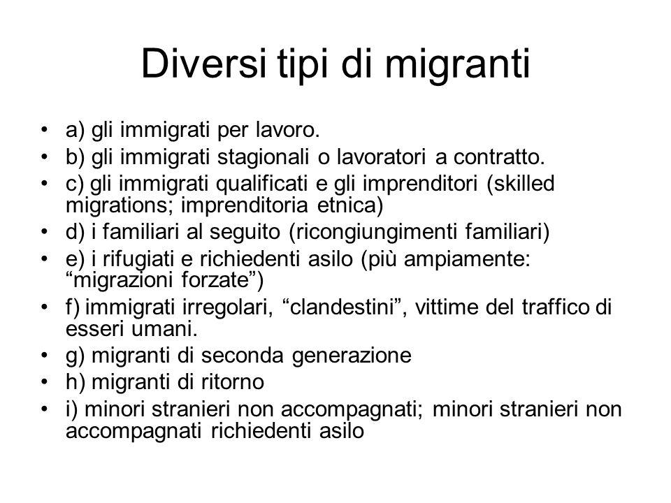Diversi tipi di migranti a) gli immigrati per lavoro. b) gli immigrati stagionali o lavoratori a contratto. c) gli immigrati qualificati e gli imprend