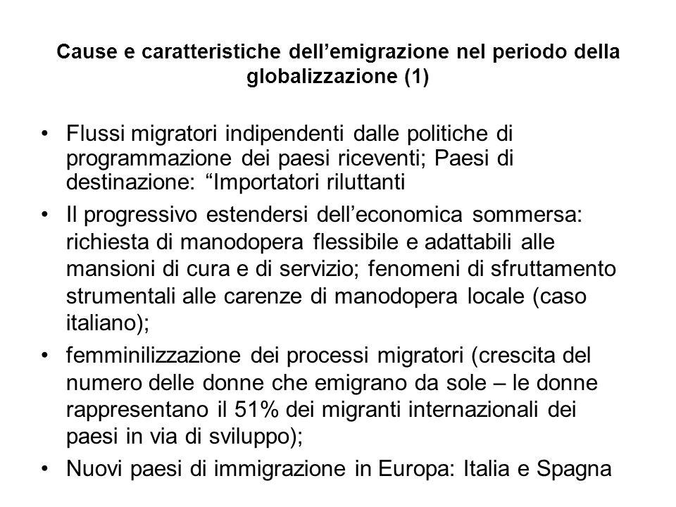 Cause e caratteristiche dellemigrazione nel periodo della globalizzazione (1) Flussi migratori indipendenti dalle politiche di programmazione dei paes