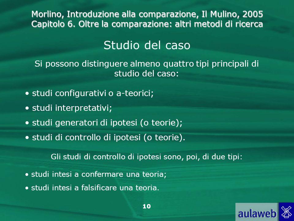 Morlino, Introduzione alla comparazione, Il Mulino, 2005 Capitolo 6. Oltre la comparazione: altri metodi di ricerca 10 Studio del caso Si possono dist
