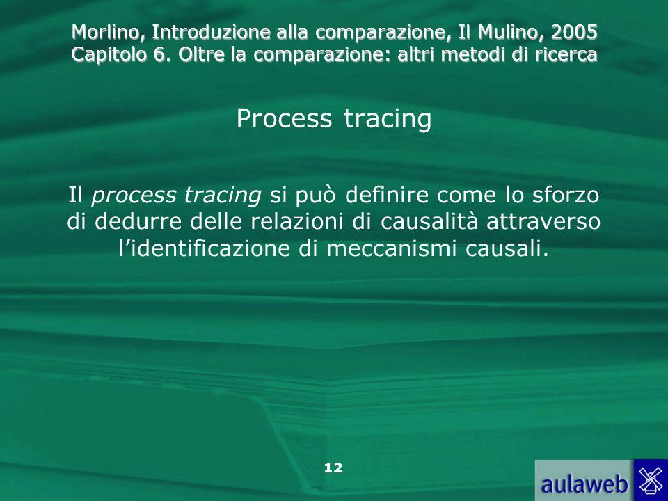 Morlino, Introduzione alla comparazione, Il Mulino, 2005 Capitolo 6. Oltre la comparazione: altri metodi di ricerca 12 Process tracing Il process trac