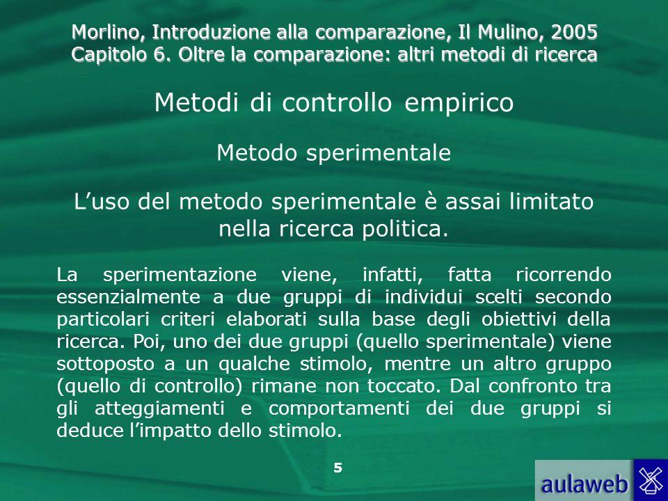 Morlino, Introduzione alla comparazione, Il Mulino, 2005 Capitolo 6. Oltre la comparazione: altri metodi di ricerca 5 Metodi di controllo empirico Met