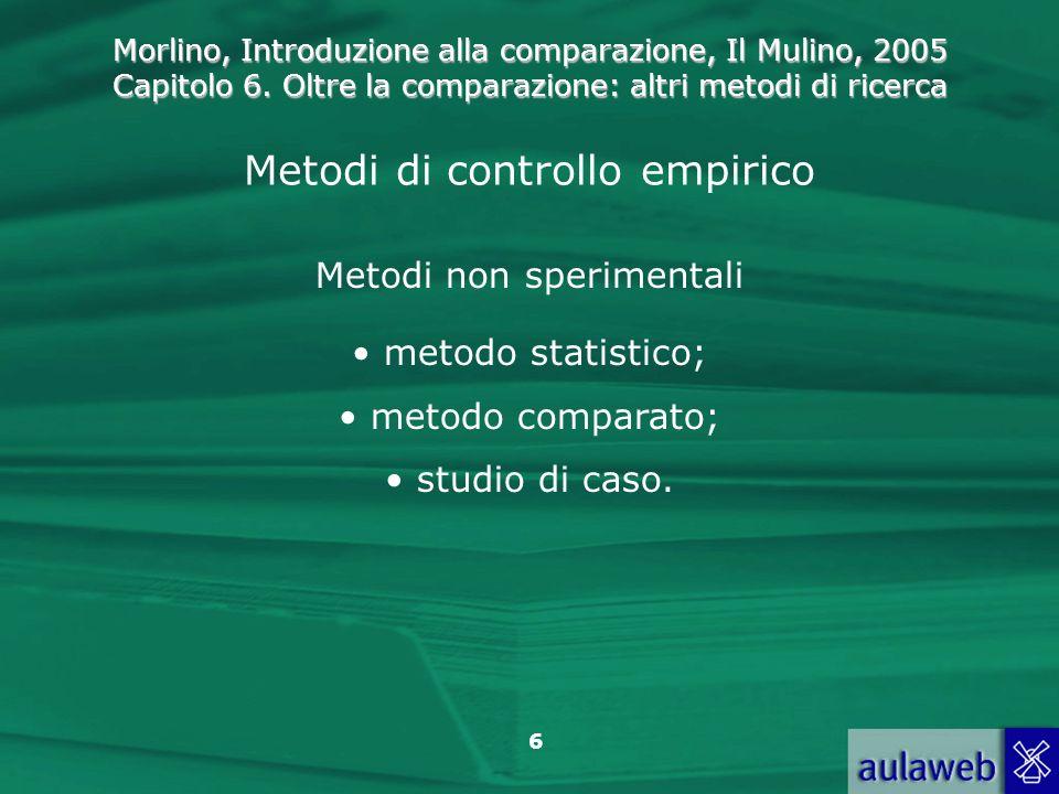 Morlino, Introduzione alla comparazione, Il Mulino, 2005 Capitolo 6. Oltre la comparazione: altri metodi di ricerca 6 Metodi di controllo empirico Met