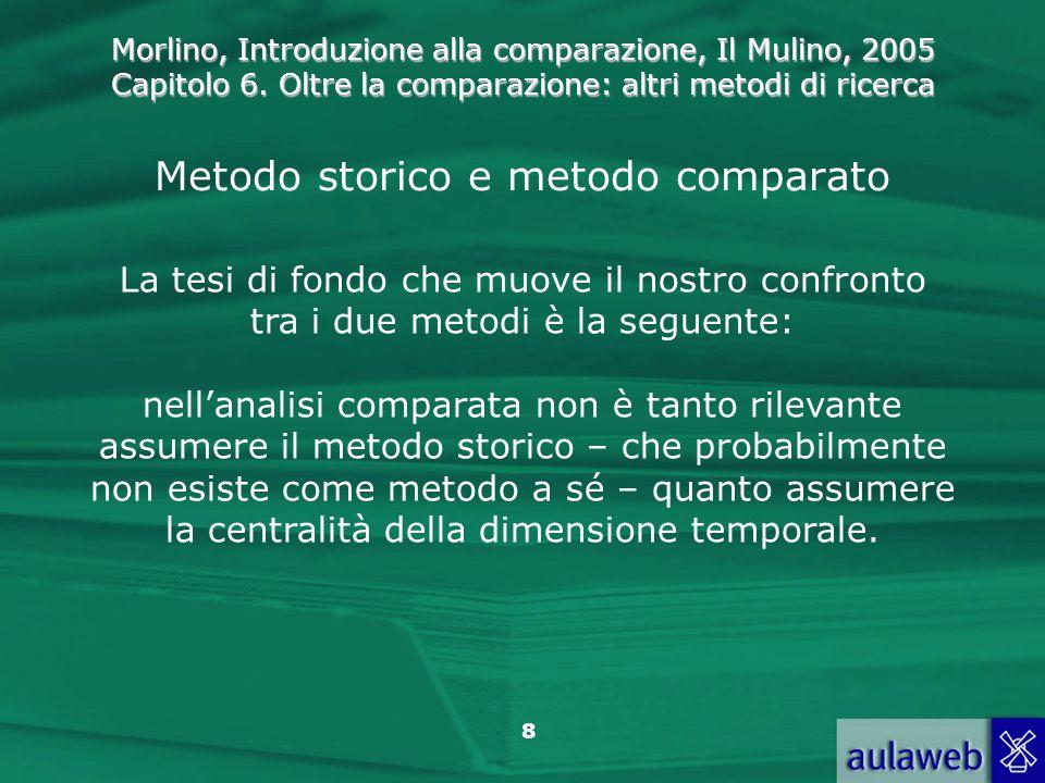 Morlino, Introduzione alla comparazione, Il Mulino, 2005 Capitolo 6. Oltre la comparazione: altri metodi di ricerca 8 Metodo storico e metodo comparat