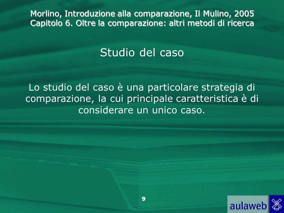 Morlino, Introduzione alla comparazione, Il Mulino, 2005 Capitolo 6. Oltre la comparazione: altri metodi di ricerca 9 Studio del caso Lo studio del ca