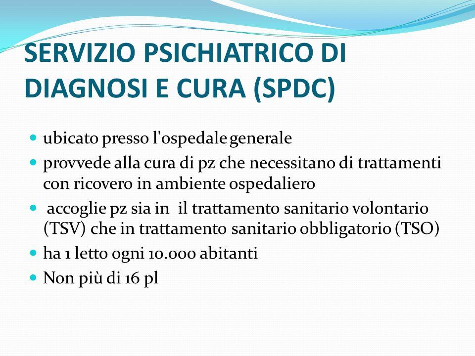 SERVIZIO PSICHIATRICO DI DIAGNOSI E CURA (SPDC) ubicato presso l'ospedale generale provvede alla cura di pz che necessitano di trattamenti con ricover