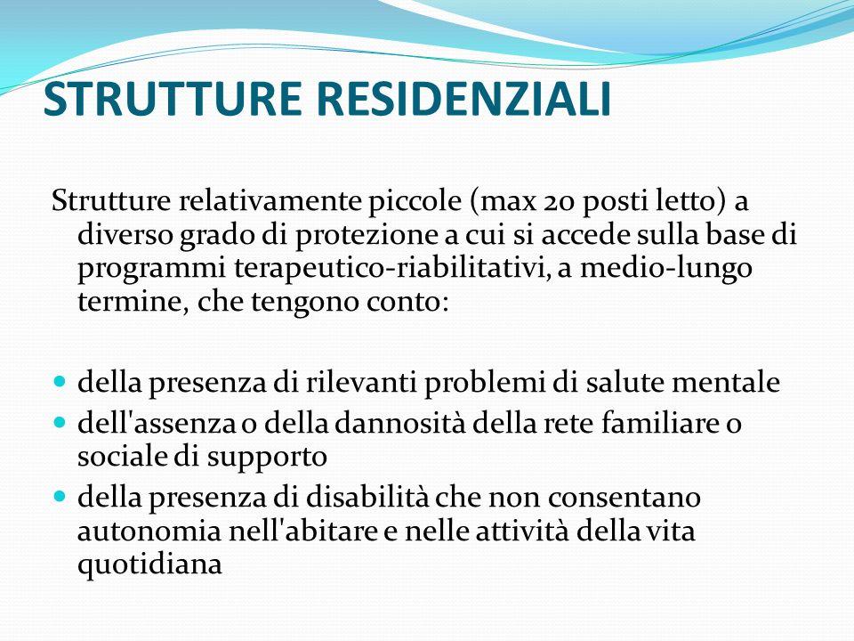 STRUTTURE RESIDENZIALI Strutture relativamente piccole (max 20 posti letto) a diverso grado di protezione a cui si accede sulla base di programmi tera