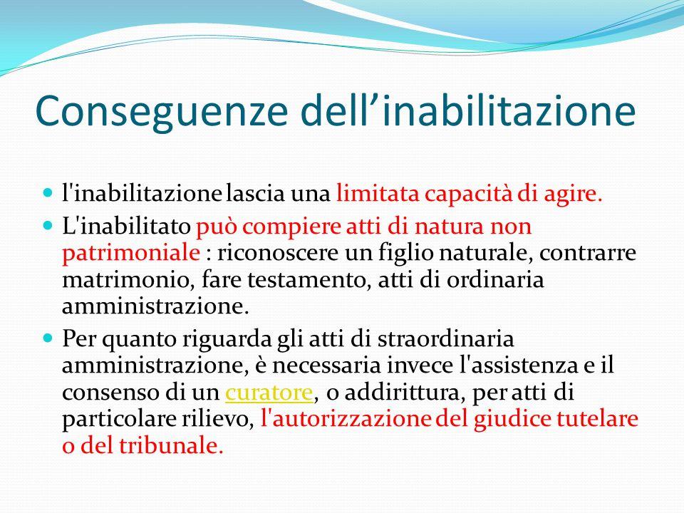 Conseguenze dellinabilitazione l'inabilitazione lascia una limitata capacità di agire. L'inabilitato può compiere atti di natura non patrimoniale : ri