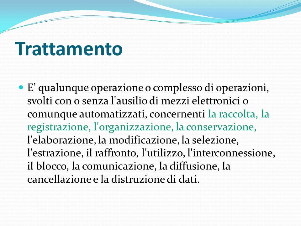 Trattamento E qualunque operazione o complesso di operazioni, svolti con o senza l'ausilio di mezzi elettronici o comunque automatizzati, concernenti