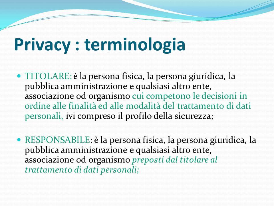 Privacy : terminologia TITOLARE: è la persona fisica, la persona giuridica, la pubblica amministrazione e qualsiasi altro ente, associazione od organi
