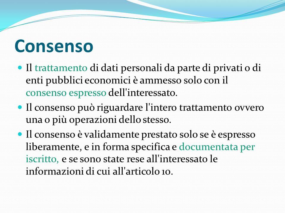 Consenso Il trattamento di dati personali da parte di privati o di enti pubblici economici è ammesso solo con il consenso espresso dell'interessato. I