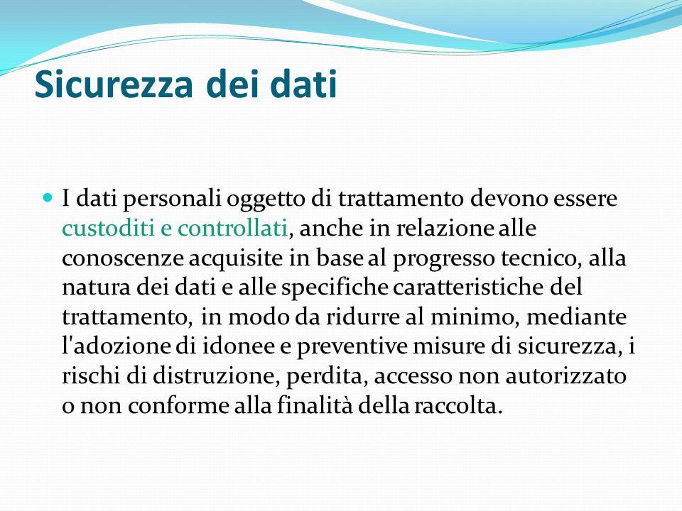Sicurezza dei dati I dati personali oggetto di trattamento devono essere custoditi e controllati, anche in relazione alle conoscenze acquisite in base