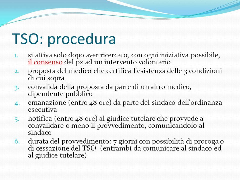 TSO: procedura 1. si attiva solo dopo aver ricercato, con ogni iniziativa possibile, il consenso del pz ad un intervento volontario 2. proposta del me