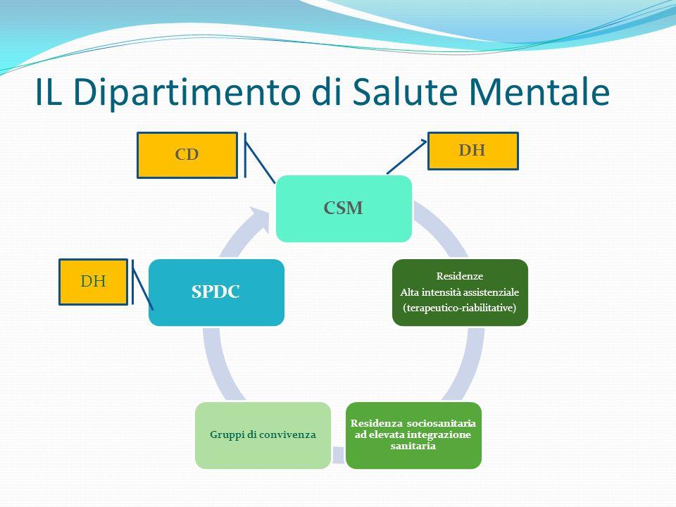 IL Dipartimento di Salute Mentale CSM Residenze Alta intensità assistenziale (terapeutico-riabilitative) Residenza sociosanitaria ad elevata integrazi