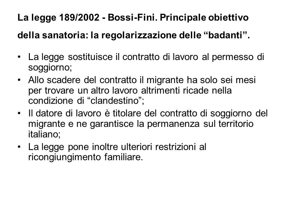 La legge 189/2002 - Bossi-Fini. Principale obiettivo della sanatoria: la regolarizzazione delle badanti. La legge sostituisce il contratto di lavoro a