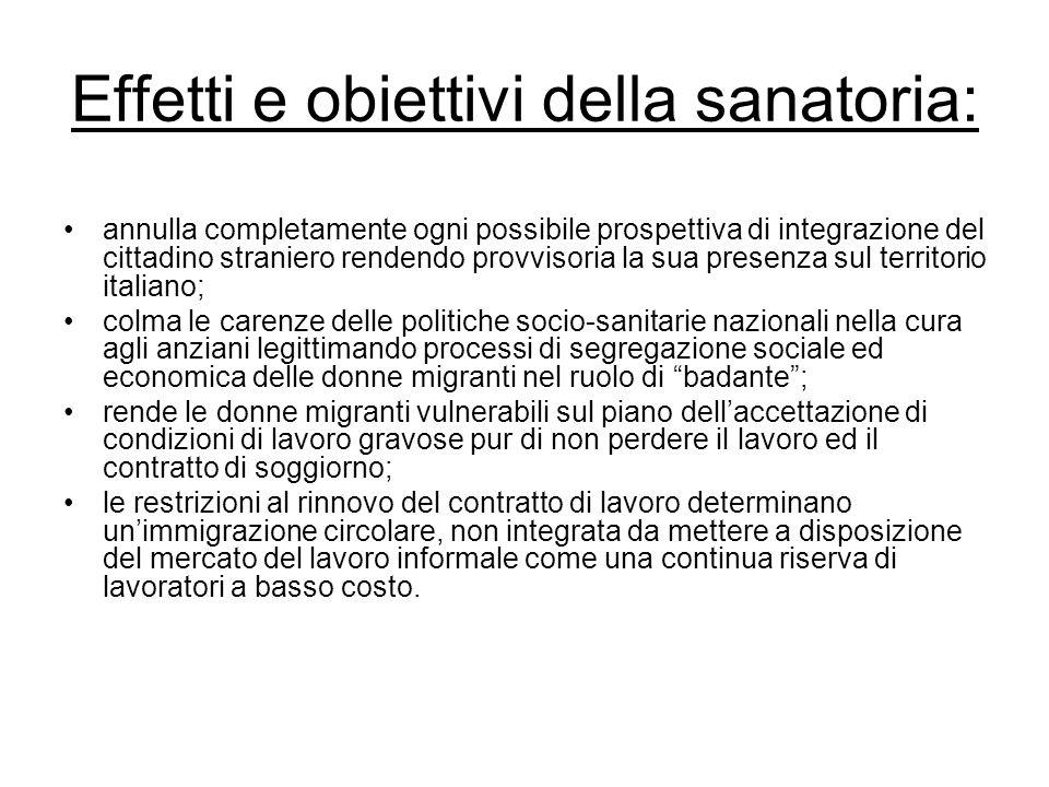 Effetti e obiettivi della sanatoria: annulla completamente ogni possibile prospettiva di integrazione del cittadino straniero rendendo provvisoria la