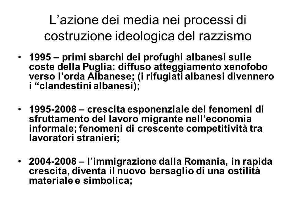 Lazione dei media nei processi di costruzione ideologica del razzismo 1995 – primi sbarchi dei profughi albanesi sulle coste della Puglia: diffuso att