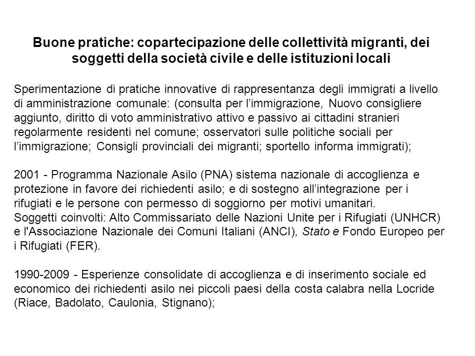 Buone pratiche: copartecipazione delle collettività migranti, dei soggetti della società civile e delle istituzioni locali Sperimentazione di pratiche