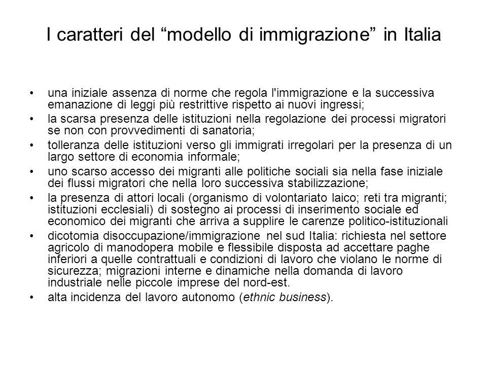 I caratteri del modello di immigrazione in Italia una iniziale assenza di norme che regola l immigrazione e la successiva emanazione di leggi più restrittive rispetto ai nuovi ingressi; la scarsa presenza delle istituzioni nella regolazione dei processi migratori se non con provvedimenti di sanatoria; tolleranza delle istituzioni verso gli immigrati irregolari per la presenza di un largo settore di economia informale; uno scarso accesso dei migranti alle politiche sociali sia nella fase iniziale dei flussi migratori che nella loro successiva stabilizzazione; la presenza di attori locali (organismo di volontariato laico; reti tra migranti; istituzioni ecclesiali) di sostegno ai processi di inserimento sociale ed economico dei migranti che arriva a supplire le carenze politico-istituzionali dicotomia disoccupazione/immigrazione nel sud Italia: richiesta nel settore agricolo di manodopera mobile e flessibile disposta ad accettare paghe inferiori a quelle contrattuali e condizioni di lavoro che violano le norme di sicurezza; migrazioni interne e dinamiche nella domanda di lavoro industriale nelle piccole imprese del nord-est.