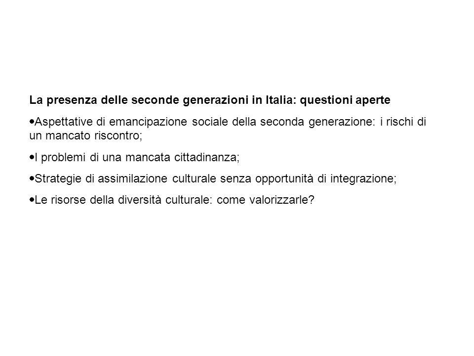 La presenza delle seconde generazioni in Italia: questioni aperte Aspettative di emancipazione sociale della seconda generazione: i rischi di un manca