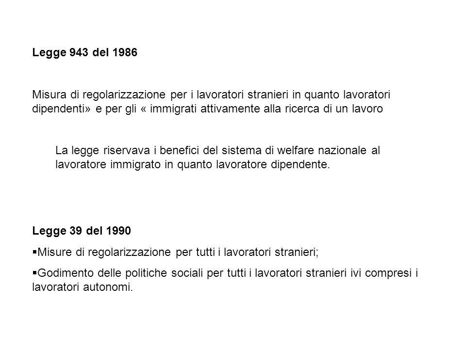 Legge 943 del 1986 Misura di regolarizzazione per i lavoratori stranieri in quanto lavoratori dipendenti» e per gli « immigrati attivamente alla ricerca di un lavoro La legge riservava i benefici del sistema di welfare nazionale al lavoratore immigrato in quanto lavoratore dipendente.