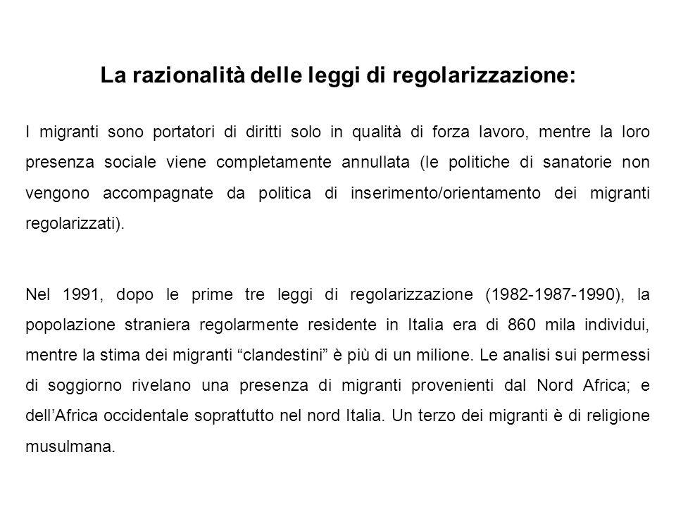 La razionalità delle leggi di regolarizzazione: I migranti sono portatori di diritti solo in qualità di forza lavoro, mentre la loro presenza sociale