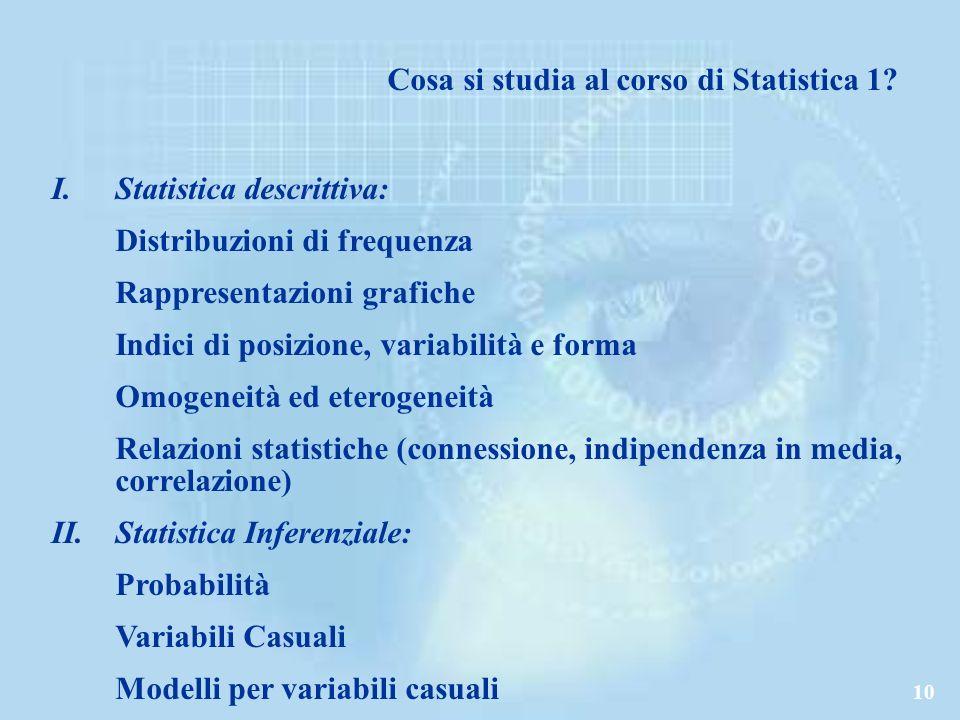 10 Cosa si studia al corso di Statistica 1.