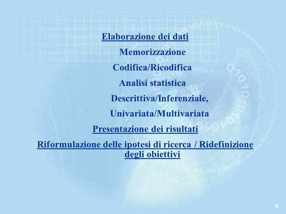 6 Elaborazione dei dati Memorizzazione Codifica/Ricodifica Analisi statistica Descrittiva/Inferenziale, Univariata/Multivariata Presentazione dei risultati Riformulazione delle ipotesi di ricerca / Ridefinizione degli obiettivi