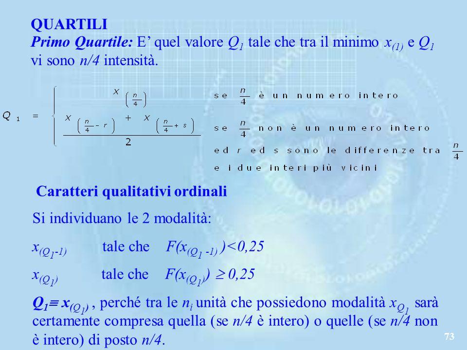 73 QUARTILI Primo Quartile: E quel valore Q 1 tale che tra il minimo x (1) e Q 1 vi sono n/4 intensità.