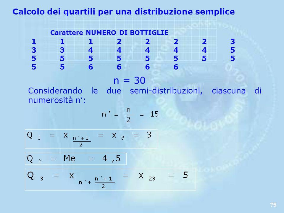 75 Considerando le due semi-distribuzioni, ciascuna di numerosità n: Carattere NUMERO DI BOTTIGLIE 11122223 33444445 5555555 5 5 56666 n = 30 Calcolo dei quartili per una distribuzione semplice