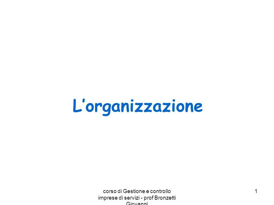 corso di Gestione e controllo imprese di servizi - prof Bronzetti Giovanni 1 Lorganizzazione