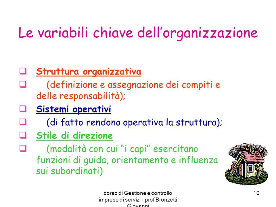 corso di Gestione e controllo imprese di servizi - prof Bronzetti Giovanni 10 Struttura organizzativa (definizione e assegnazione dei compiti e delle