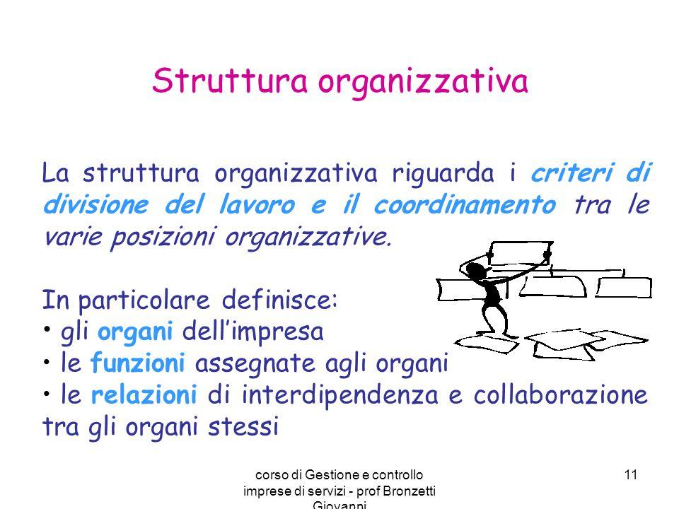 corso di Gestione e controllo imprese di servizi - prof Bronzetti Giovanni 11 La struttura organizzativa riguarda i criteri di divisione del lavoro e