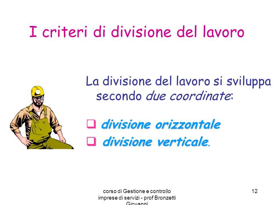 corso di Gestione e controllo imprese di servizi - prof Bronzetti Giovanni 12 La divisione del lavoro si sviluppa secondo due coordinate: divisione or