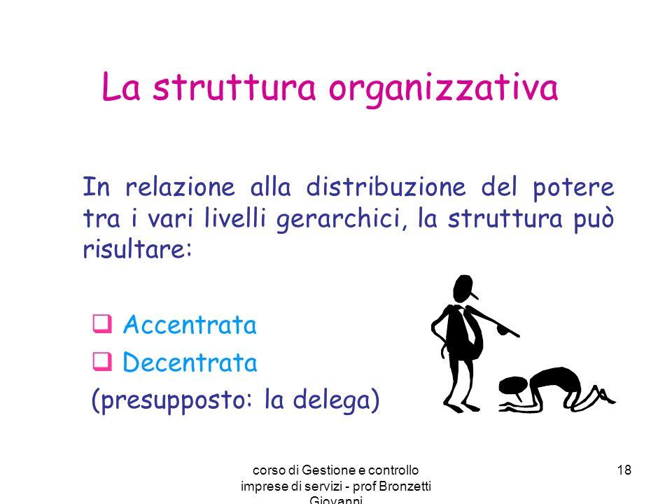 corso di Gestione e controllo imprese di servizi - prof Bronzetti Giovanni 18 La struttura organizzativa In relazione alla distribuzione del potere tr
