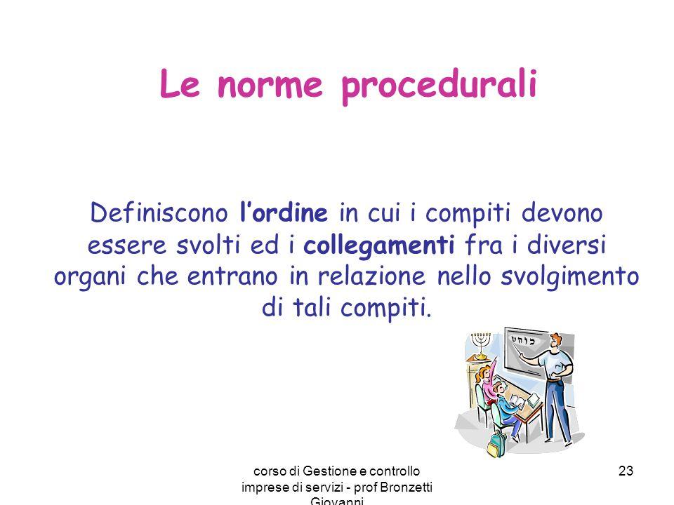 corso di Gestione e controllo imprese di servizi - prof Bronzetti Giovanni 23 Le norme procedurali Definiscono lordine in cui i compiti devono essere