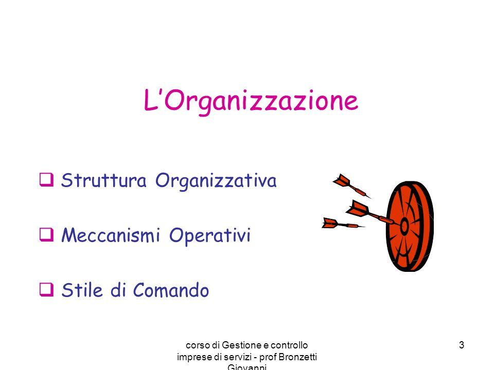 corso di Gestione e controllo imprese di servizi - prof Bronzetti Giovanni 3 Struttura Organizzativa Meccanismi Operativi Stile di Comando LOrganizzaz