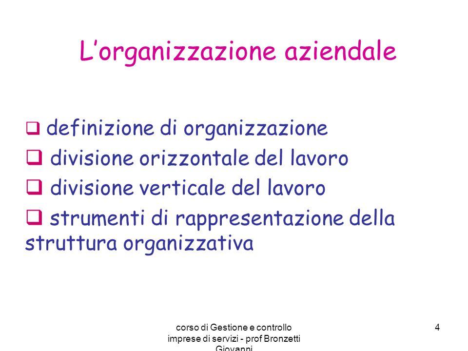 corso di Gestione e controllo imprese di servizi - prof Bronzetti Giovanni 4 definizione di organizzazione divisione orizzontale del lavoro divisione