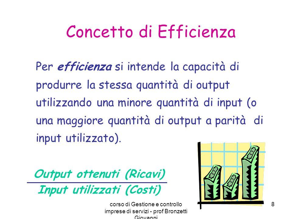 corso di Gestione e controllo imprese di servizi - prof Bronzetti Giovanni 8 Per efficienza si intende la capacità di produrre la stessa quantità di o
