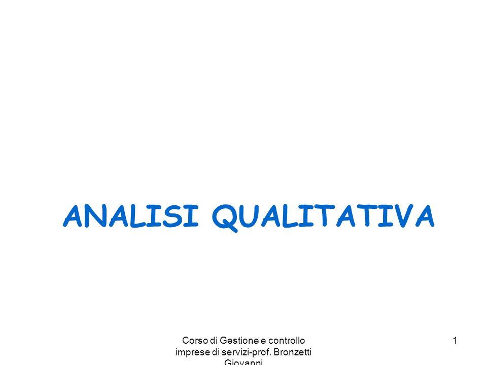 Corso di Gestione e controllo imprese di servizi-prof. Bronzetti Giovanni 1 ANALISI QUALITATIVA