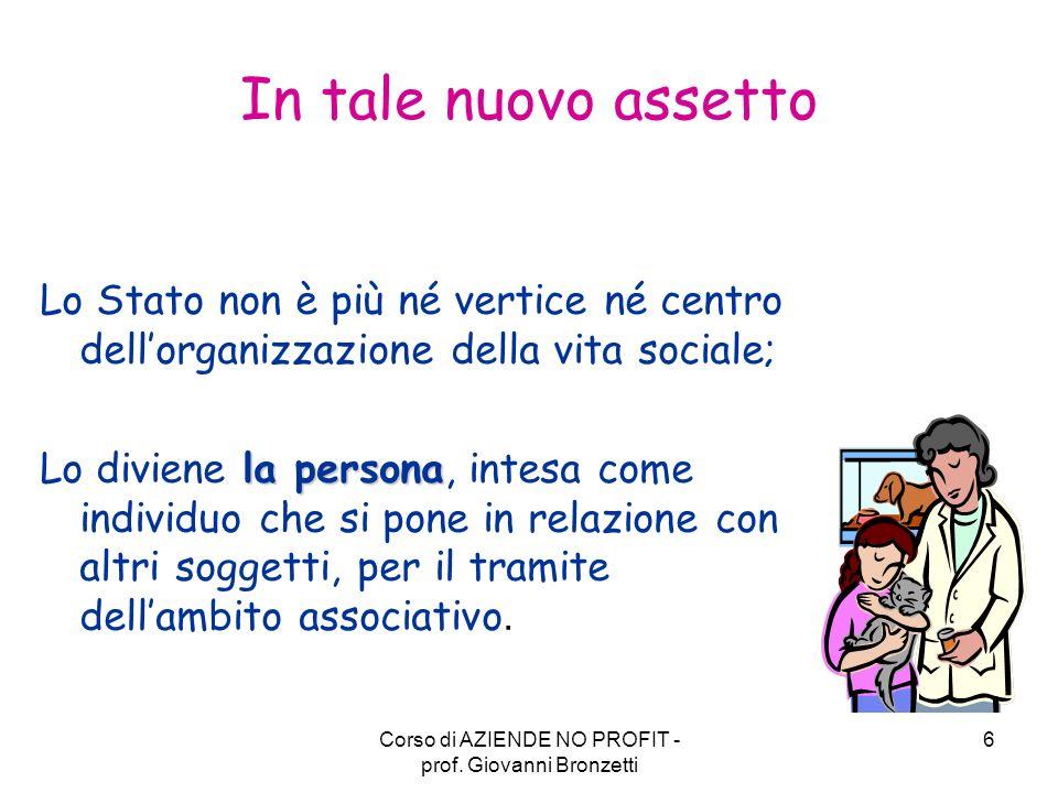 Corso di AZIENDE NO PROFIT - prof.
