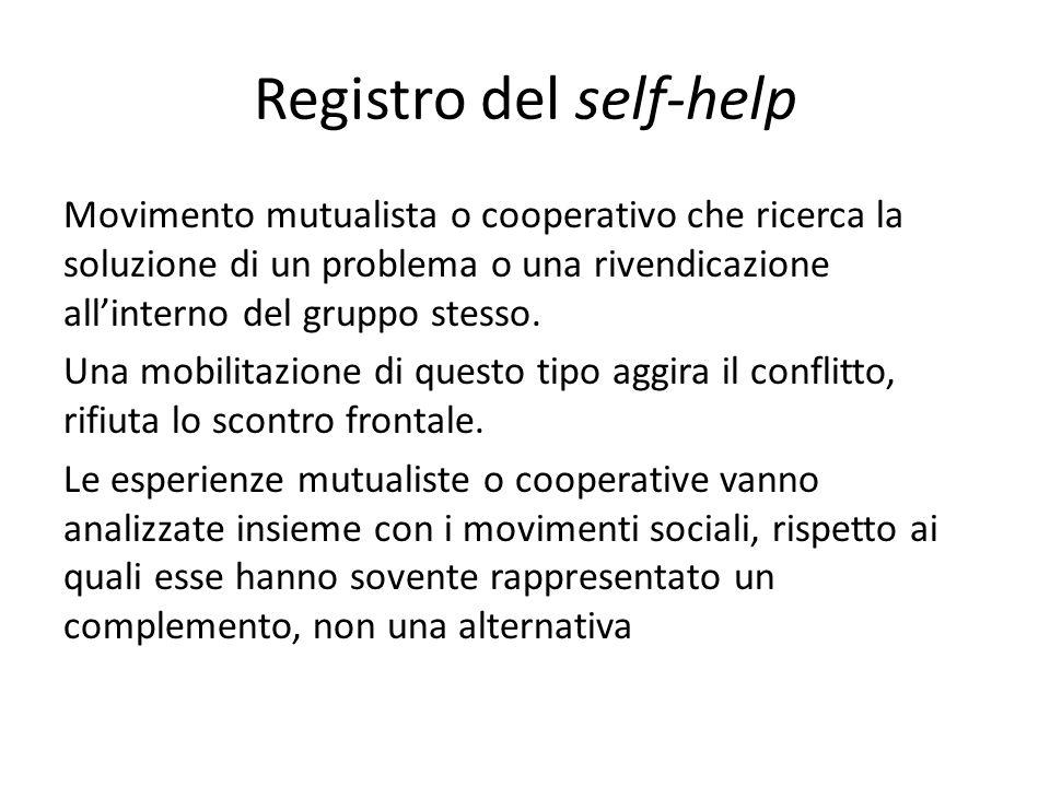 Registro del self-help Movimento mutualista o cooperativo che ricerca la soluzione di un problema o una rivendicazione allinterno del gruppo stesso.