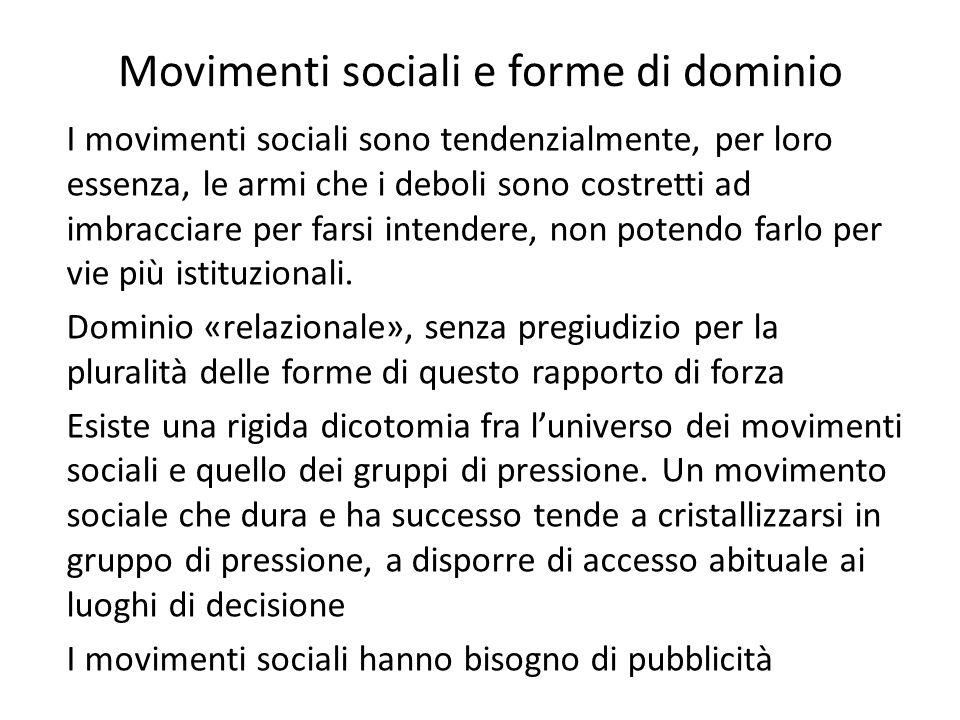 Movimenti sociali e forme di dominio I movimenti sociali sono tendenzialmente, per loro essenza, le armi che i deboli sono costretti ad imbracciare per farsi intendere, non potendo farlo per vie più istituzionali.