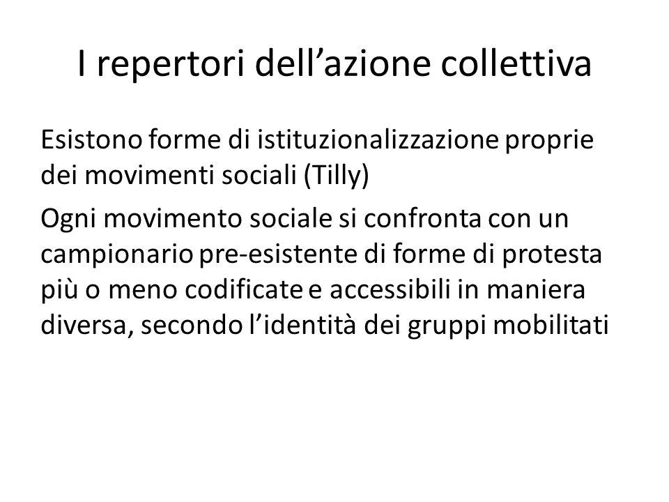 I repertori dellazione collettiva Esistono forme di istituzionalizzazione proprie dei movimenti sociali (Tilly) Ogni movimento sociale si confronta con un campionario pre-esistente di forme di protesta più o meno codificate e accessibili in maniera diversa, secondo lidentità dei gruppi mobilitati