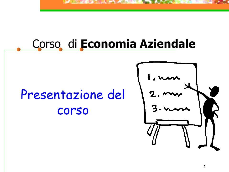 1 Corso di Economia Aziendale Presentazione del corso