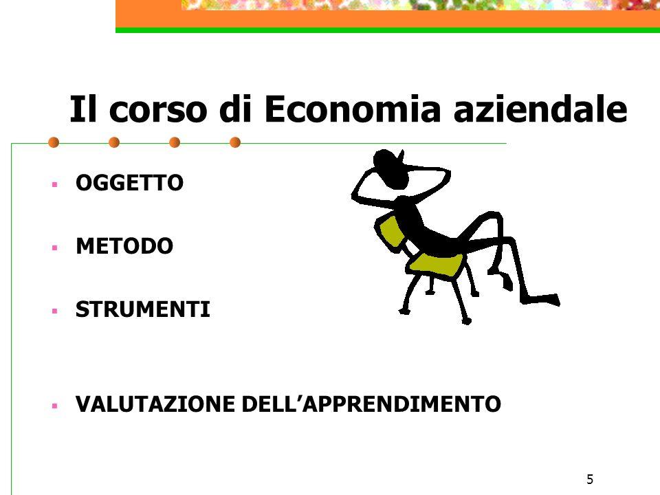 5 Il corso di Economia aziendale OGGETTO METODO STRUMENTI VALUTAZIONE DELLAPPRENDIMENTO